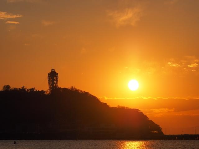 江ノ島と夕陽の景色